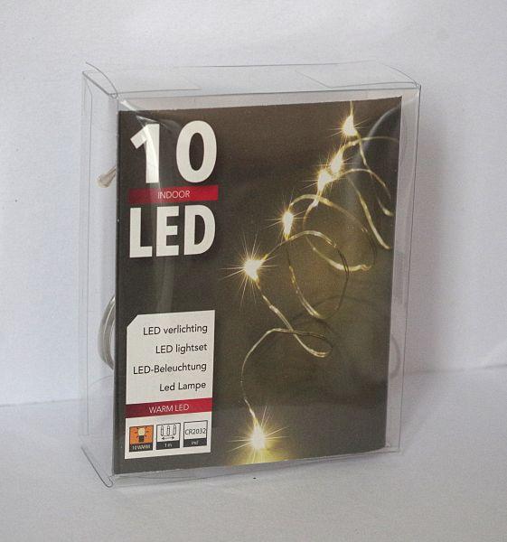 10er Led Draht Lichterkette 1m lang inklusive Knopfzelle Batterie warmweiß Leds