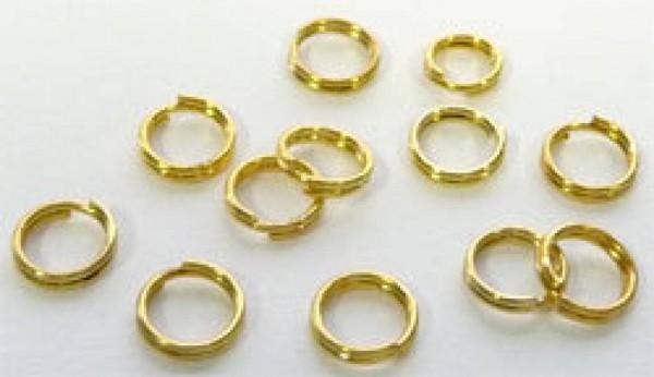 100 Spaltringe Zwischenring gold 5mm 02305
