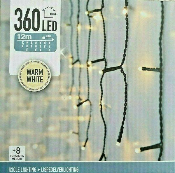 360er LED Lichterkette warmweiß Lichtervorhang 8 Funktionen