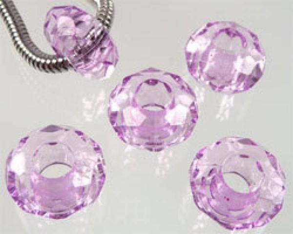5 Kristall Beads Kunststoff amethyst Perle 06746