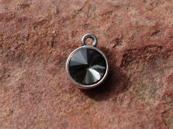1 Anhänger 12mm Strass black diamond silber/platin Metall 08883