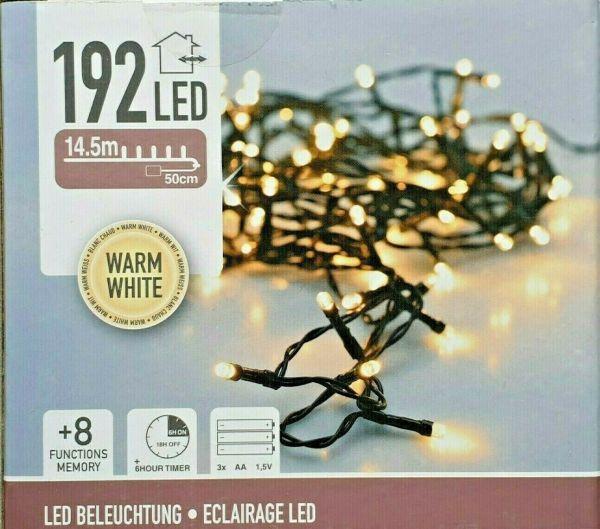 LED Lichterkette 192 Lämpchen + Timer + Batteriebetrieb warmweiss grünes Kabel