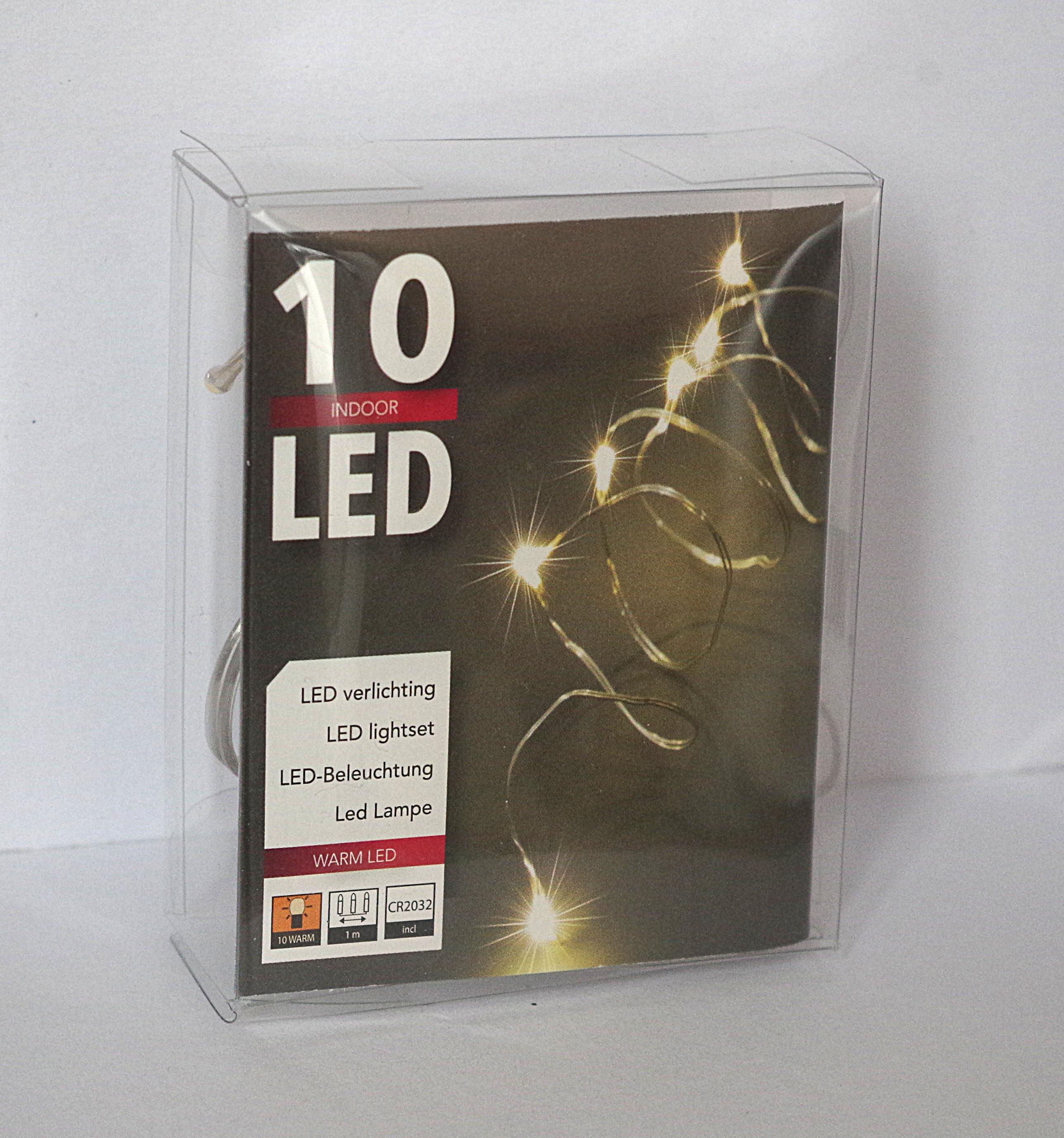 10er Led Draht Lichterkette 1m lang inklusive Knopfzelle Batterie ...