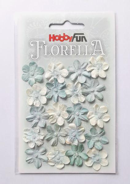 """20 Papierblüten wasserblau für Glücksfee """"Tilda"""""""