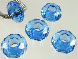 5 Kristall Beads Kunststoff Perle blau 06745