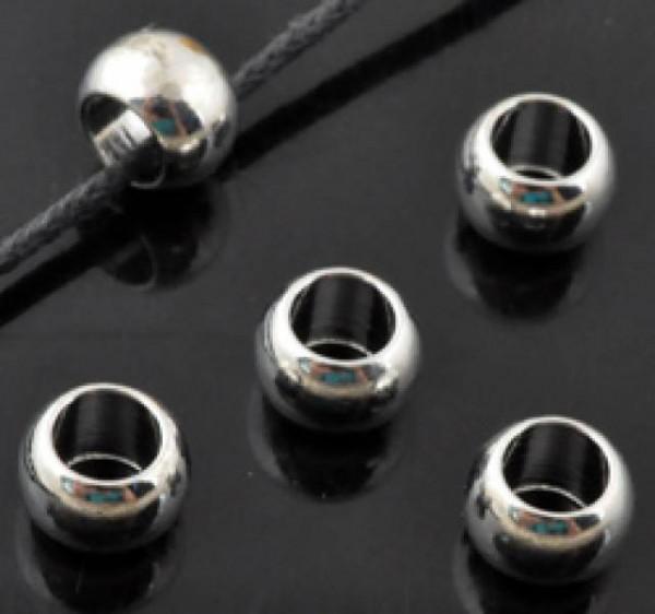 4 x Metallperle 7x5mm Großlochperle silber/platin 15317