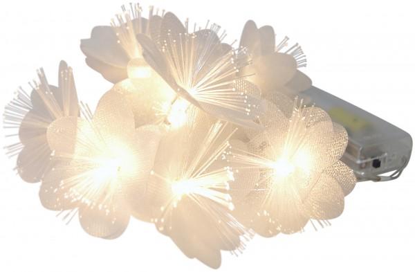 LED Lichterkette 8 Blüten Fiberglas Büschel warmweiß Batteriebetrieb