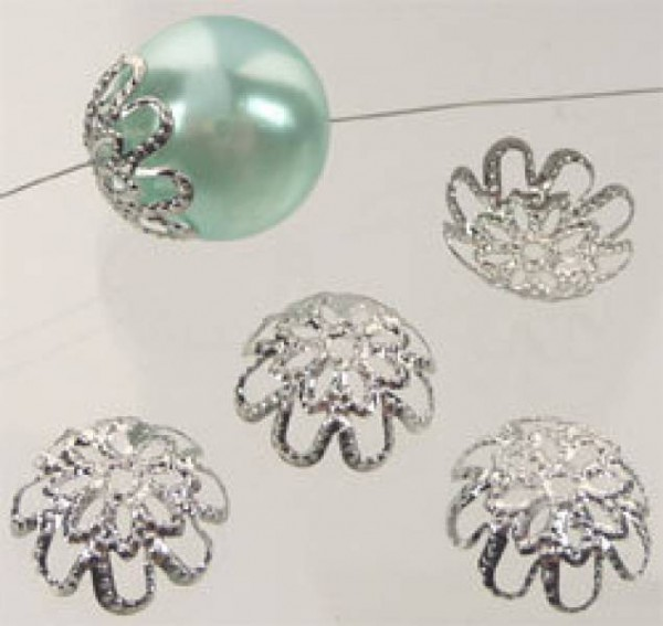 20 Kappen für Perlen filigran silber/platin 14mm 08611
