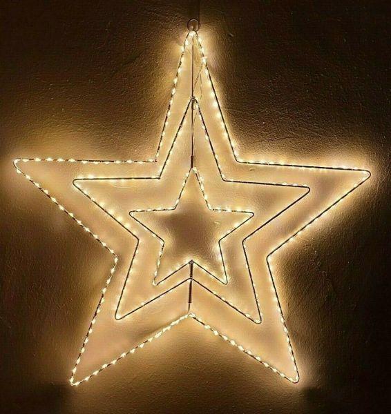 LED Stern beleuchtet mit Timer 274 Leds warmweiß für innen und außen