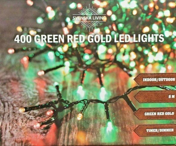 400er LED Lichterkette rot grün gold Strom für innen und außen