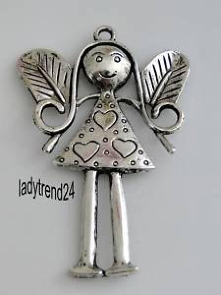 1 Schutzengel Anhänger Engel Metall silber 81mm 20098