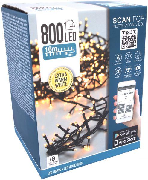 LED Lichterkette Cluster 800 Leds extra warmweiß APP Handy gesteuert für innen und außen