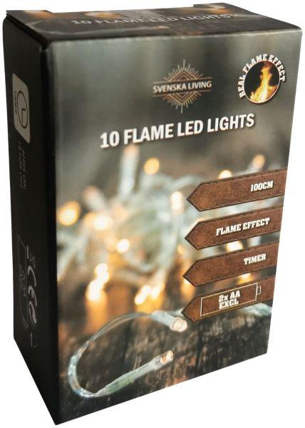 Flammeneffekt! 10er LED - Lichterkette mit Timer Batteriebetrieb