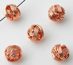 1 Perle roségold gewickelt 12mm Metall 10732