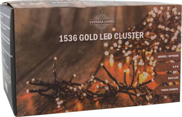 Led Lichterkette 1536 Leds gold bernstein Strom Cluster 6 Stunden Timer 9,9m lang