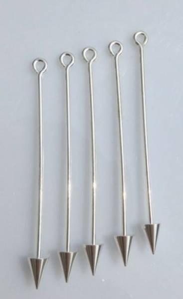 5 Wechselstäbe 60mm Spitze silber 50107
