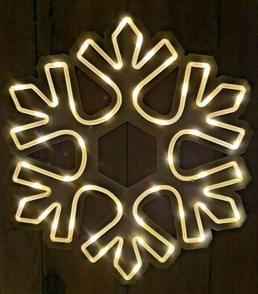 LED Schneeflocke 30cm Batterie Timer Beleuchtung warmweiß