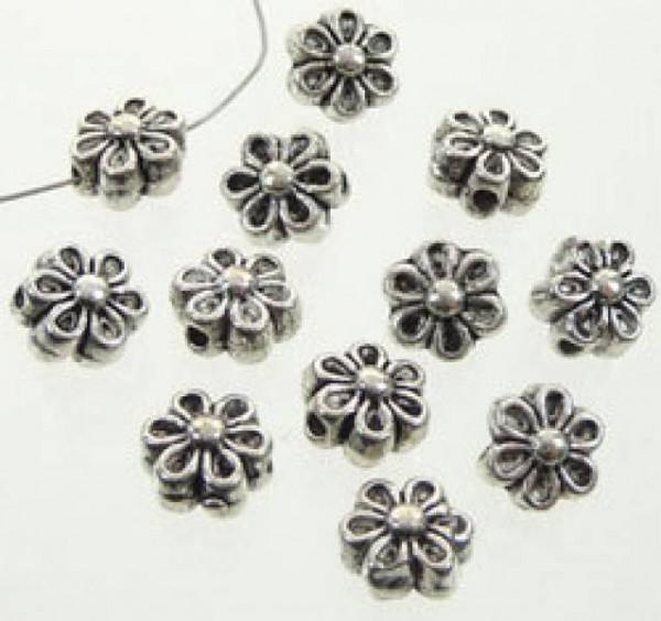 10 Metallperlen Blume 6mm silber/platin 14667