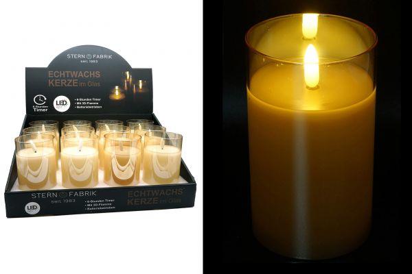 1 LED Kerze Timer im Glas champagner 12,5cm x 7,5cm