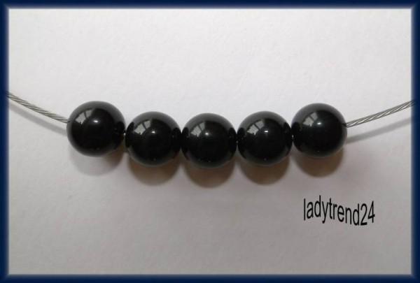5 Polarisperlen 10mm schwarz glänzend