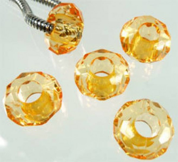 5 Kristall Beads Kunststoff orange Perle 06752