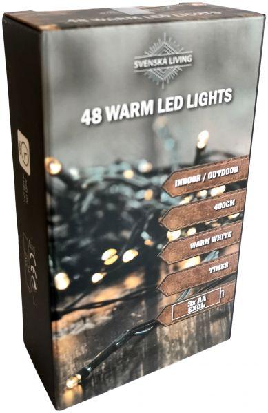 Flammeneffekt ! LED Lichterkette 48 Lämpchen + grünes Kabel + Timer + Batteriebetrieb Outdoor
