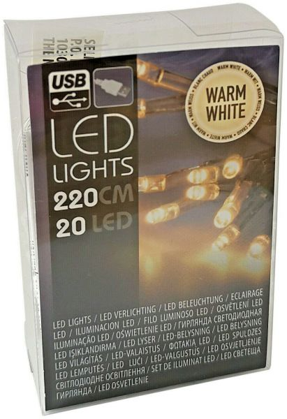 USB LED Lichterkette 20 Lämpchen warmweiß