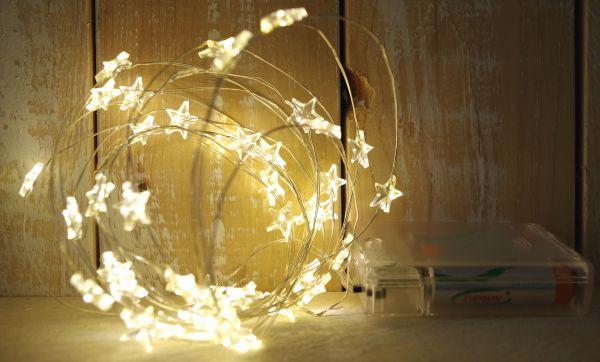 40-er LED Lichterkette Stern Timer Silberdraht warmweiß Batteriebetrieb