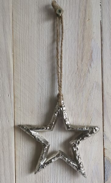 1 Deko-Stern silber 9cm Metall zum Aufhängen