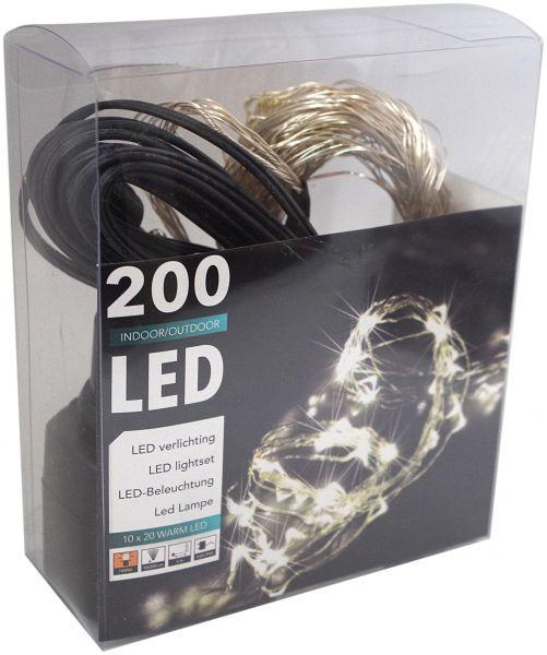 LED Wasserfall 200-er Silberdraht Lichterkette für innen und außen mit Trafo Micro Tropfen