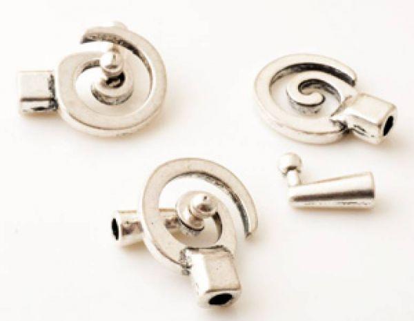 1 Knebelverschluss Spirale 31mm silber/platin antik 14904