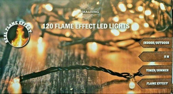 120er LED Lichterkette Flammeneffekt warmweiß für innen und außen