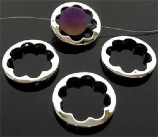 1 Spacer Kunststoff Zwischenteil silber 25mm Blume 05955