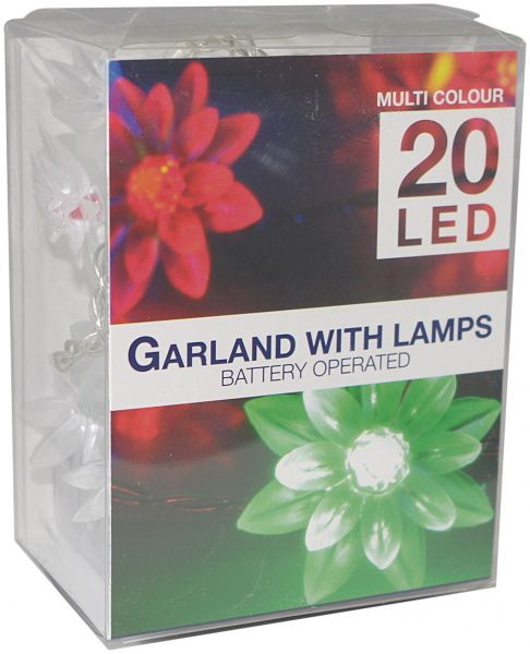LED Lichterkette 20 Blume bunt Batterie transparentes Kabel