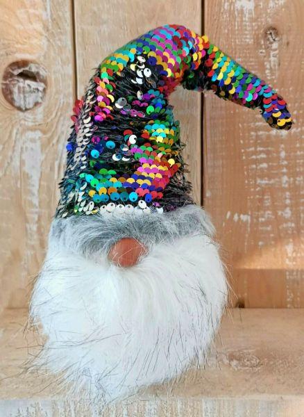 Weihnachts Wichtel mit Wendepailletten bunt