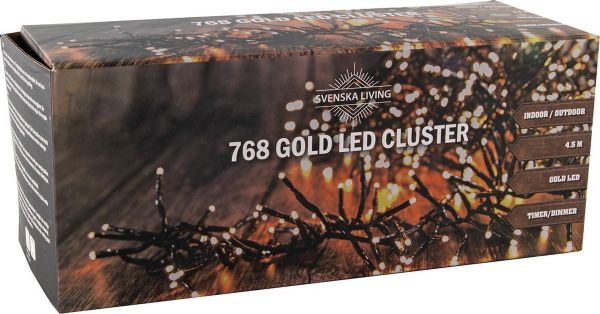 Led Lichterkette 768 Leds gold bernstein Strom Cluster 6 Stunden Timer 4,5m lang