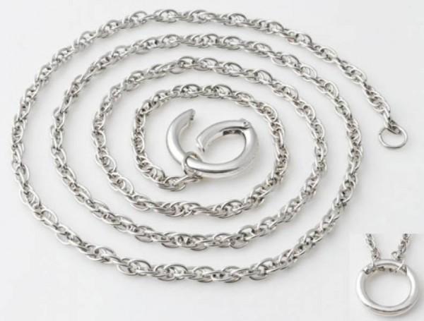 1 Kette mit Ring 85cm silber/platin Metall 01437