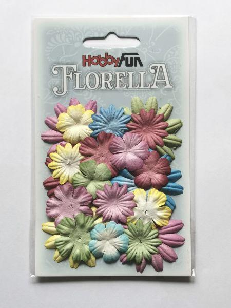 20 Papierblüten Mix I 2-4cm bunt kräftig