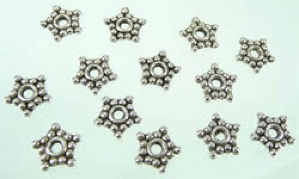 10 Metallperlen Stern 8mm silber/platin 02972