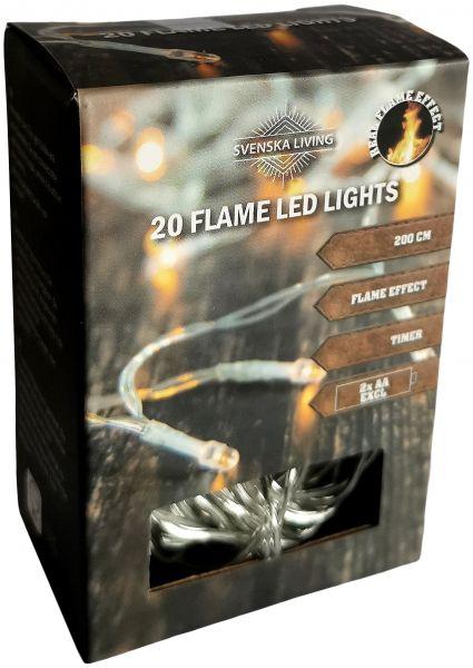 Flammeneffekt! 20er LED - Lichterkette mit Timer Batteriebetrieb