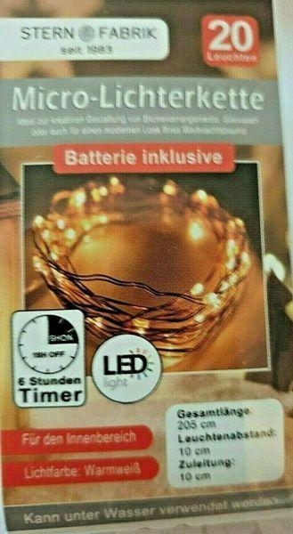 20er Led Draht Lichterkette Timer 2m lang inklusive Knopfzelle Batterie warmweiß