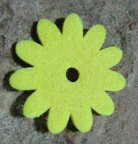 Ringscheibe Filz Blume gelb