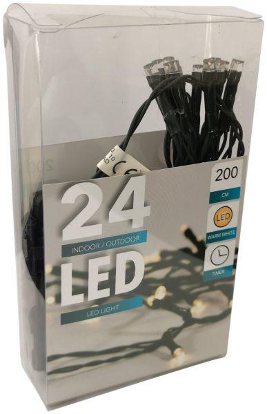 LED Lichterkette 24 Lämpchen + grünes Kabel + Timer + Batteriebetrieb + warmweiß