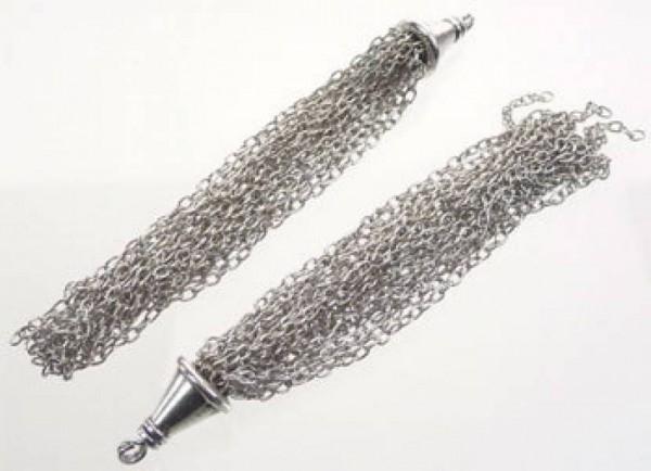 1 Anhänger Quaste Troddel Metall silber 65mm 07895