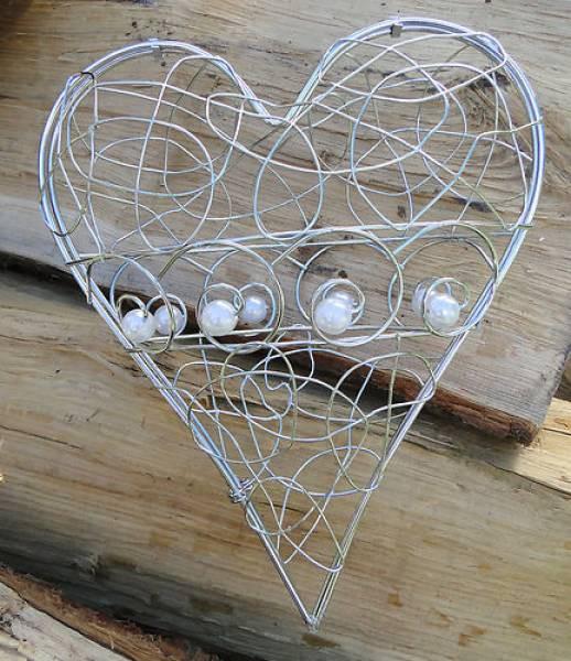 Filigran-Herz zum Öffnen Metall silber 14cm