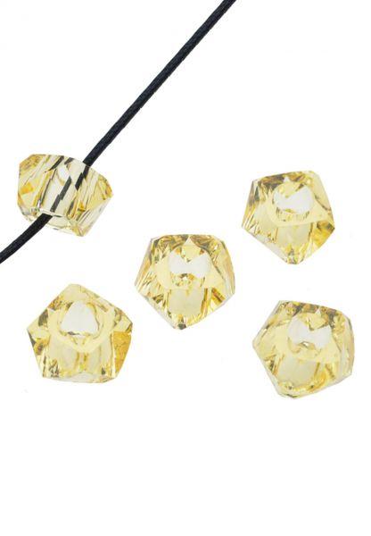5 Beads 14x8mm Kunststoff facette gelb-gold 17516