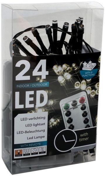 LED Lichterkette 24 Lämpchen + Funk/Fernbedienung + Timer + warmweiß