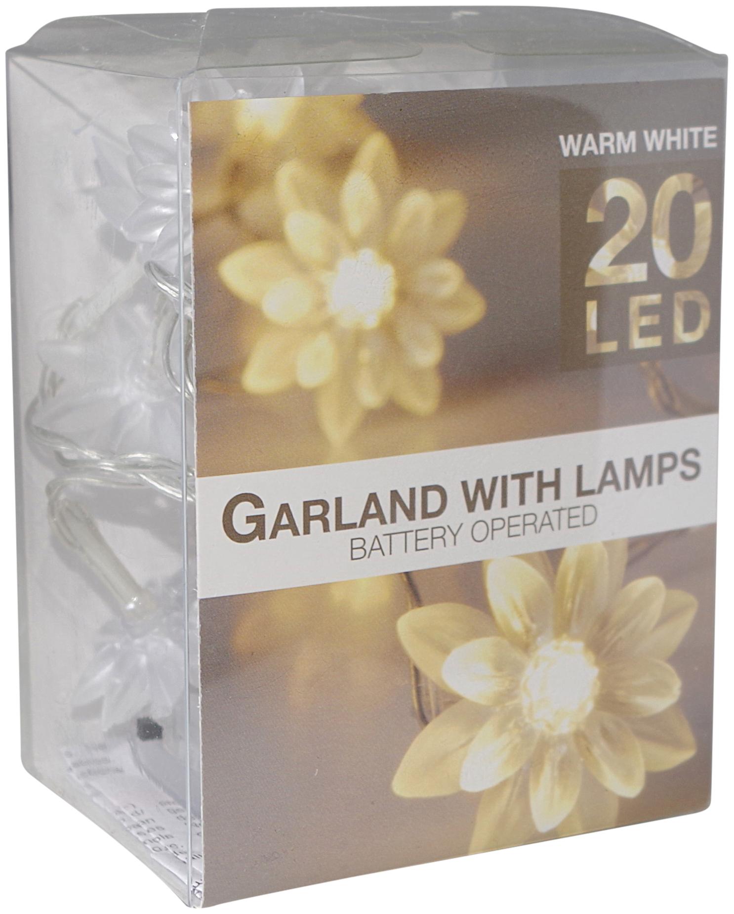led lichterkette 20 blumen warmwei batterie transparentes. Black Bedroom Furniture Sets. Home Design Ideas