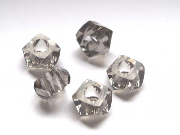 5 Beads 14x8mm Kunststoff facette grau 17515
