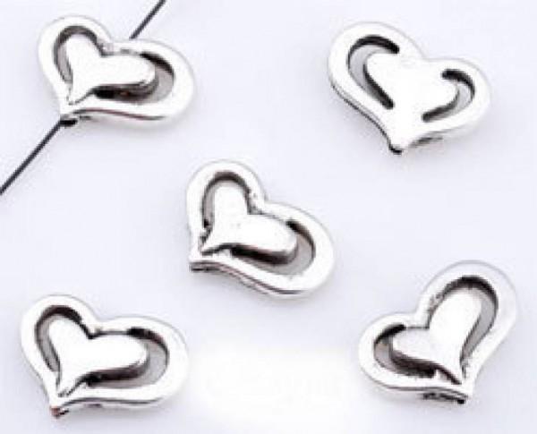 1 x Herz Perle Metall silber/platin 14x10mm 09453